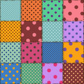 Seamless pattern of polka dot patchworks colorful Royalty Free Stock Photography