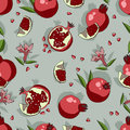 Seamless pattern with pomegranate vector. Royalty Free Stock Photo