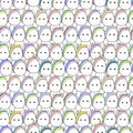 Seamless pattern with pony and unicorn faces