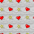 Seamless pattern with pop art stickers with pixel heart and star on texture with black stripes.