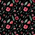 Seamless pattern of poppies on black
