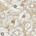 Seamless pattern with poppy flowers Royalty Free Stock Photo