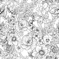 Seamless pattern with poppy flowers daffodil, anemone, violet in