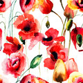 Seamless pattern with poppy and tulips flowers watercolor illustration Stock Photos