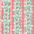 Seamless pattern of porcelain tea cups with stack blue Stock Photography