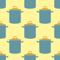 Seamless pattern pot vector saucepan background for kitchen cook food kitchenware utensil, soup, casserole pan design Royalty Free Stock Photo