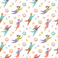 Seamless pattern with pretty women trying to reach out for the sweets