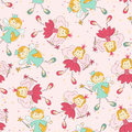 Seamless pattern with princess and fairy Royalty Free Stock Photo