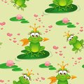 Seamless pattern with princess frog and water lily Royalty Free Stock Photo