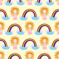 Seamless pattern princess and rainbow- vector, illustration, eps