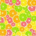 Seamless pattern. Print of slices of green lime, yellow lemon, pink grapefruit and orange. Citrus fruit background.
