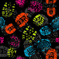 Seamless pattern, prints of foots,  Stock Image