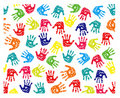 Seamless pattern, prints of hands Royalty Free Stock Image
