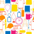 Seamless pattern with promotional gifts and souvenirs Royalty Free Stock Photo
