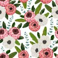 Seamless pattern with protea and anemone flowers, leaves and spiral eucalyptus. Decorative holiday floral background. Royalty Free Stock Photo