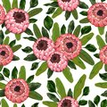 Seamless pattern with protea flowers and leaves. Decorative holiday floral background.