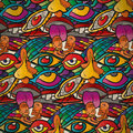 Seamless pattern of psychedelic parties in vintage style Royalty Free Stock Photo
