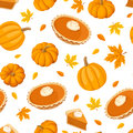 Seamless pattern with pumpkin pies and pumpkins. Vector illustration. Royalty Free Stock Photo