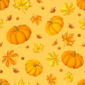 Seamless pattern with pumpkins and autumn leaves orange berries Stock Image