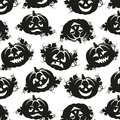 Seamless pattern of pumpkins for halloween black and white Royalty Free Stock Image