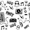 Seamless pattern. Punk rock music isolated on white background. Doodle design elements, emblems, logo and icons. Royalty Free Stock Photo