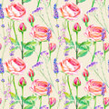 Seamless pattern of a purple roses,bluebell and lavender.