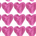 Seamless pattern purple watercolor hearts on a white background.