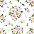 Seamless pattern with purple and white roses and lisianthus flowers. Vector illustration. Royalty Free Stock Photo