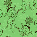 Seamless pattern of rabbit and flowers cute Royalty Free Stock Photo