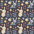 Seamless pattern rabbit hare bee flowers animals plants hearts mushroom berry for kids cute made with Royalty Free Stock Photos