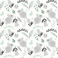 Seamless pattern with rabbits lady bugs birds and flowers vector illustration Royalty Free Stock Image