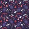 Seamless pattern with rabbits lady bugs birds and flowers vector illustration Stock Photography