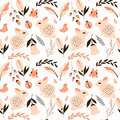 Seamless pattern with rabbits lady bugs birds and flowers vector illustration Stock Photo