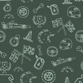 Seamless pattern racing element in a drawing style Royalty Free Stock Photo