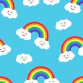 Seamless pattern with rainbow and clouds. Vector illustration
