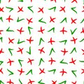 Seamless pattern randomly chaotic situation checkmark green check marks red crosses, vector seamless pattern cross and tick Royalty Free Stock Photo