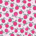 Seamless Pattern with Raspberries Stock Photos