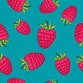 Seamless Pattern ,Raspberries on Azure Background Royalty Free Stock Photo