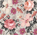 Seamless pattern. Realistic isolated flowers. Vintage background. Chamomile Rose hibiscus mallow. Wallpaper. Drawing engraving.