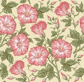 Seamless pattern. Realistic isolated flowers. Vintage baroque background. Petunia. Wallpaper. Drawing engraving. Vector Royalty Free Stock Photo