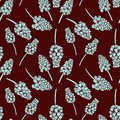 Seamless pattern with realistically painted ink Muscari flowers. Hand drawn illustration on burgundy background modified