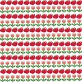 Seamless pattern with red apples and pink tulips on white backgr Royalty Free Stock Photo