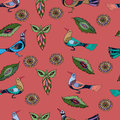 Seamless pattern with red birds. Royalty Free Stock Photo
