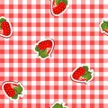 Seamless pattern with red canvas and strawberries Royalty Free Stock Photography