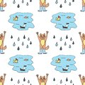 Seamless pattern with red cat in rubber boots, puddle and rain drops. Colorful sketch. Vector illustration