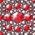 Seamless pattern red crystals. Large and small faceted gemstones. Jewelry pattern. Royalty Free Stock Photo