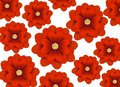 Seamless pattern with red 3d flowers