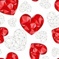 Seamless pattern of red diamond hearts on a white background.