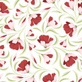 Seamless pattern with red flowers and green leaves on a white background Royalty Free Stock Photography