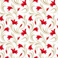 Seamless pattern with red gladiolus flowers and beige leaves on a white background Stock Image